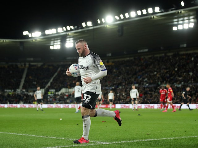 Derby County's Wayne Rooney in action against Fulham in the Championship on February 21, 2020