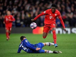 Bayern Munich's Alphonso Davies in action against Chelsea in the Champions League on February 26, 2020