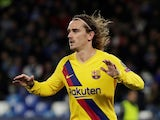 Barcelona's Antoine Griezmann celebrates scoring their first goal on February 25, 2020