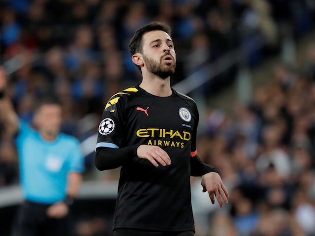Manchester City's Bernardo Silva reacts on February 26, 2020