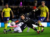 Birmingham City's Lee Camp saves a shot from Millwall's Jed Wallace on February 26, 2020