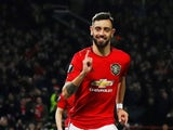 Manchester United's Bruno Fernandes celebrates scoring their first goal on February 27, 2020