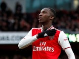 Arsenal striker Eddie Nketiah celebrates scoring on February 23, 2020