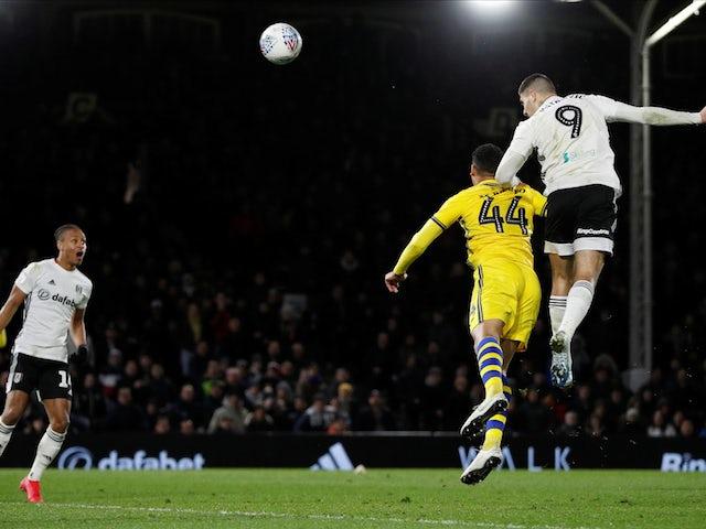 Fulham's Aleksandar Mitrovic scores their first goal against Swansea on February 26, 2020