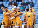 Wasps players celebrate a try on March 1, 2020
