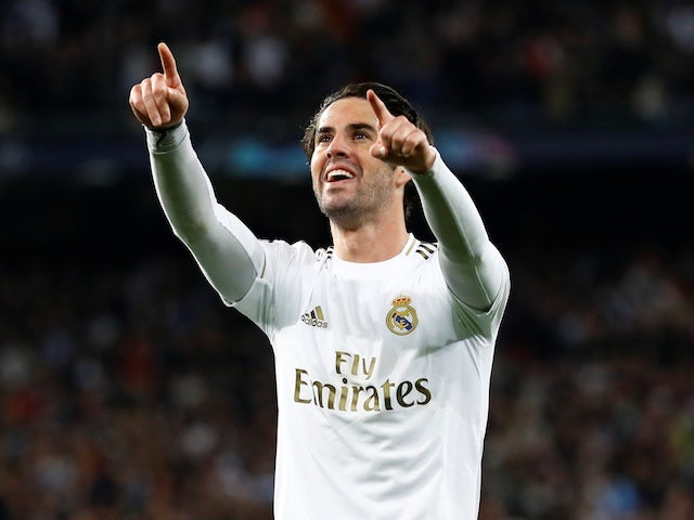 Real Madrid's Isco celebrates scoring their first goal on February 26, 2020