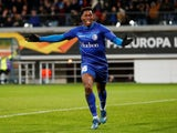 Gent's Jonathan David celebrates scoring their first goal on February 27, 2020