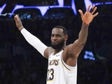 Los Angeles Lakers forward LeBron James (23) celebrates in the fourth quarter against the Boston Celtics half at Staples Center. The Lakers defeated the Celtics 114-112 on February 23, 2020