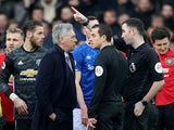 Everton manager Carlo Ancelotti is shown a red card by referee Chris Kavanagh after the match on March 1, 2020