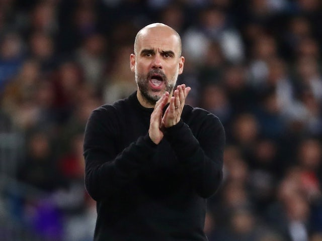 Manchester City manager Pep Guardiola reacts on February 26, 2020