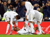 Real Madrid's Mariano Diaz celebrates scoring their second goal with Raphael Varane, Casemiro and Sergio Ramos on March 1, 2020