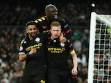 Manchester City's Kevin De Bruyne celebrates scoring their second goal with Riyad Mahrez and Benjamin Mendy on February 26, 2020