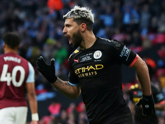 Sergio Aguero celebrates scoring for Man City in the EFL Cup final on March 1, 2020