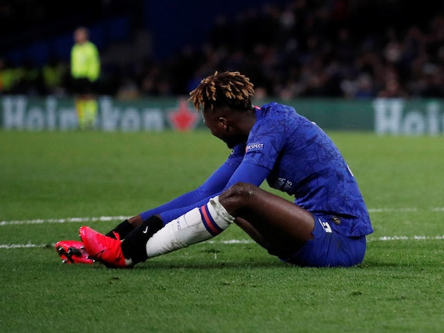 Chelsea striker Tammy Abraham goes down injured against Bayern Munich in February 2020