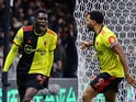 Watford's Ismaila Sarr celebrates scoring their first goal on February 29, 2020