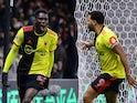 Watford's Ismaila Sarr celebrates scoring their first goal on February 29, 2020
