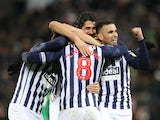 West Bromwich Albion's Jake Livermore celebrates scoring their second goal with Hal Robson-Kanu and teammates on February 25, 2020