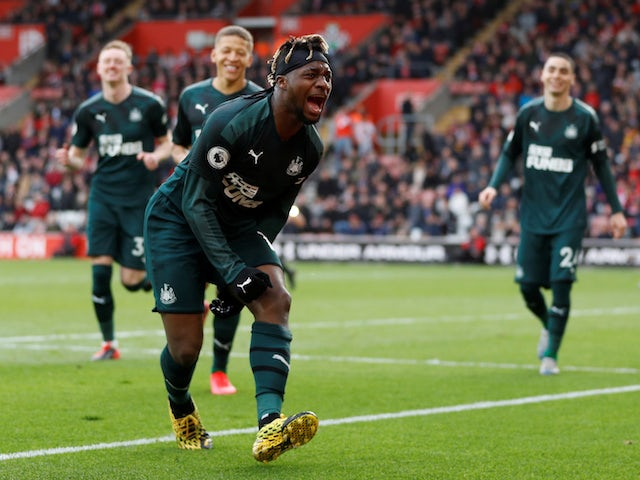 Newcastle United's Allan Saint-Maximin celebrates scoring their first goal on March 7, 2020