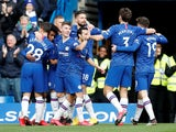 Chelsea's Willian celebrates scoring their third goal with teammates on March 8, 2020