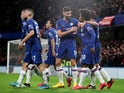 Chelsea's Willian celebrates scoring their first goal with teammates on March 3, 2020