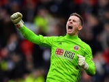 Sheffield United's Dean Henderson celebrates after the match on March 7, 2020