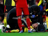 Watford's Gerard Deulofeu receives medical attention after sustaining an injury on February 29, 2020