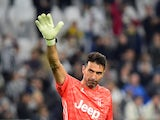 Juventus' Gianluigi Buffon acknowledges fans after the match in October 2019