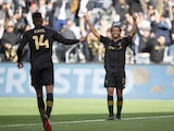 Los Angeles FC forward Carlos Vela (10) celebrates after scoring a goal during the first half against Inter Miami CF at Banc of California Stadium on March 2, 2020