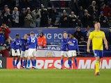Leicester City's Ricardo Pereira celebrates scoring their first goal with teammates on March 4, 2020