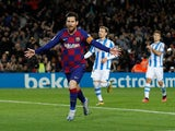Barcelona's Lionel Messi celebrates scoring their first goal on March 7, 2020