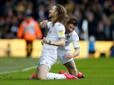 Luke Ayling celebrates scoring for Leeds United on March 7, 2020