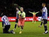 Manchester City's Sergio Aguero celebrates scoring their first goal on March 4, 2020