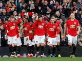 Manchester United's Anthony Martial celebrates scoring their first goal with teammates on March 8, 2020