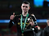 Manchester City midfielder Phil Foden celebrates after winning the EFL Cup on March 1, 2020