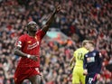 Liverpool's Sadio Mane celebrates scoring their second goal on March 7, 2020