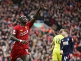 Liverpool's Sadio Mane celebrates scoring their second goal on March 7, 2020