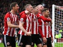 Sheffield United's Billy Sharp celebrates scoring their first goal with teammates on March 7, 2020
