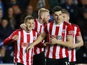 Sheffield United's Billy Sharp celebrates scoring their second goal with teammates on March 3, 2020