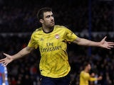 Arsenal's Sokratis Papastathopoulos celebrates scoring their first goal on March 2, 2020