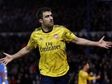 Arsenal's Sokratis Papastathopoulos celebrates scoring their first goal on March 2, 2020