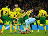 Norwich City's Tim Krul and teammates celebrate winning the penalty shootout on March 4, 2020