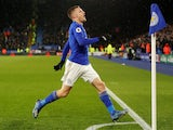 Jamie Vardy celebrates scoring for Leicester on March 9, 2020