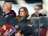 West Ham United Vice-chairman Karren Brady with her husband, Paul Peschisolido, in the stands during the match in February 2020