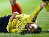 Lucas Torreira lies injured on March 2, 2020