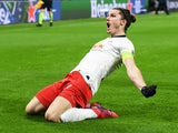 RB Leipzig's Marcel Sabitzer celebrates scoring their first goal on March 10, 2020
