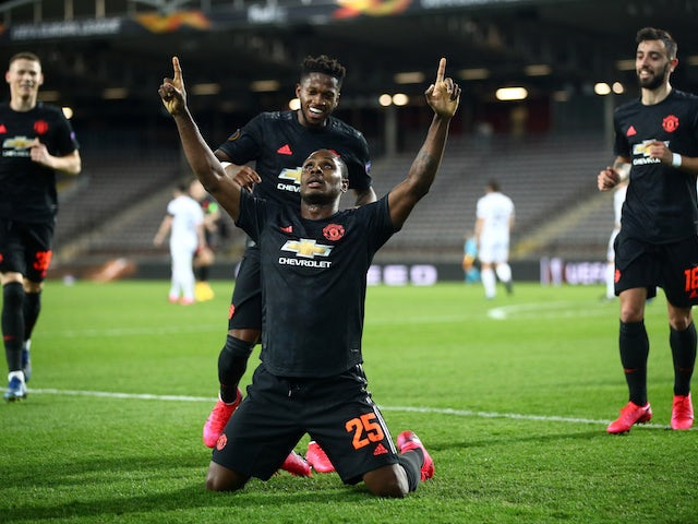 Manchester United's Odion Ighalo celebrates scoring their first goal on March 12, 2020