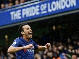 Chelsea's Pedro celebrates scoring their second goal on March 8, 2020
