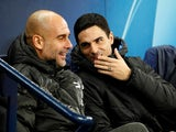 Manchester City manager Pep Guardiola and assistant coach Mikel Arteta before the match in November 2019