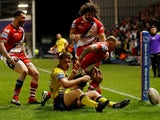 Salford Red Devils' Kevin Brown scores their third try on March 13, 2020
