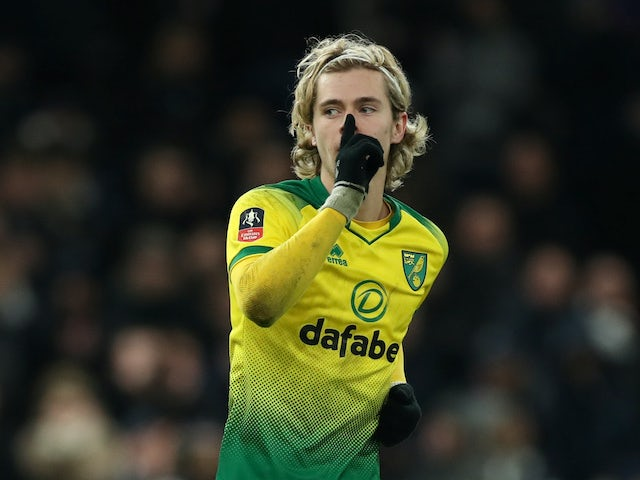 Todd Cantwell celebrates scoring for Norwich City on March 4, 2020